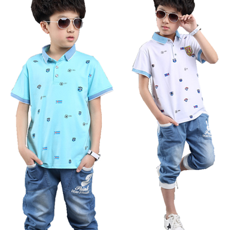 Boys Clothing Sets Fashion Toddler Suits Polo T-Shirt+Denim Pants 2 Pcs Casual Summer Baby Children Clothes Party Kids Costume baby boys girls sets 2018 winter t shirt pants cotton kids costume girl clothes suits for boy casual children clothing 3cs204