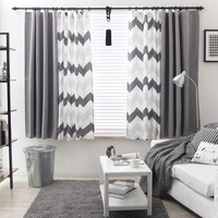 Helen Curtain Nordic Grey Strip Curtain For Living Room Blackout Splice Sample Modern Design Curtain For Bedroom 1 Piece
