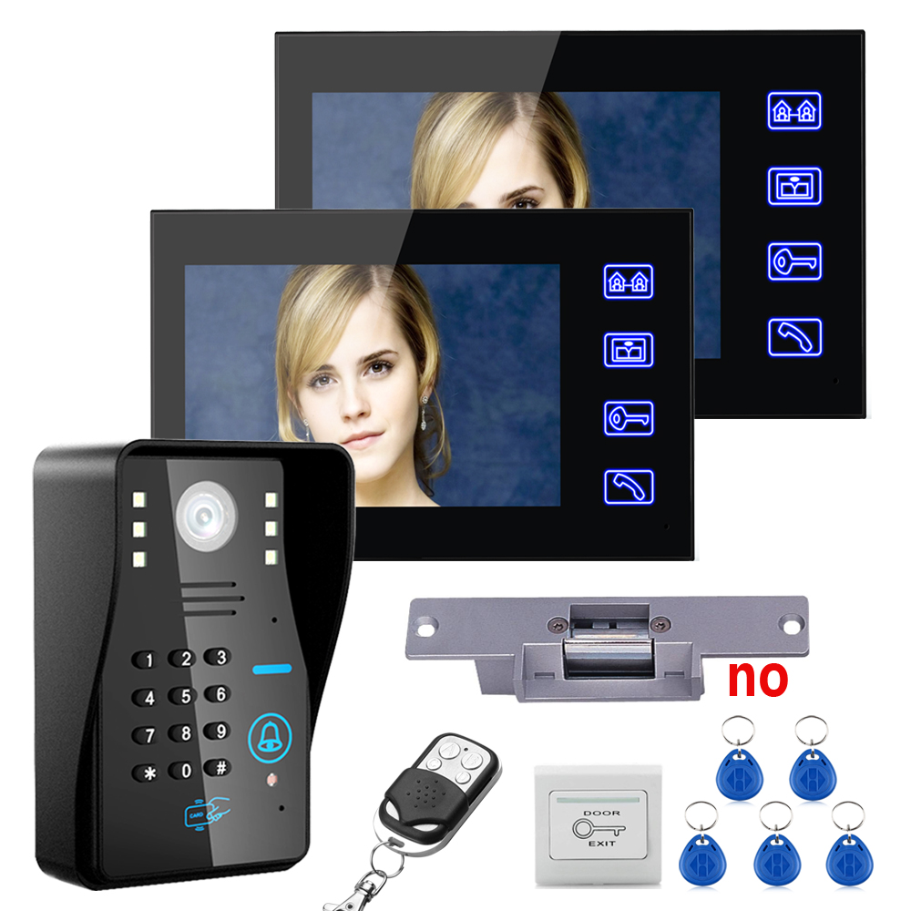 7 TFT 2 Monitors RFID Password Video Door Phone Intercom System Kit Electric Strike Lock Wireless