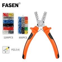 цена на 1200pcs Cable Wire Tuber Terminal Connector with Hand Ferrule Crimper Plier Crimp Tool Ferrule Kit Set AWG 10-23
