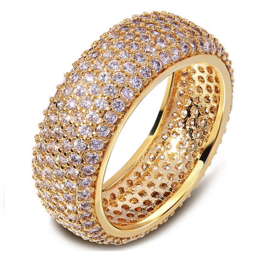 super zirconia engagement ring 2017 hot selling wedding jewelry fashion female cz diamond ring 18 k real gold plated women ring in rings from jewelry - Selling Wedding Ring