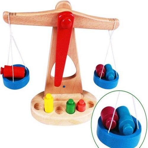 Купить с кэшбэком FlyingTown Montessori teaching aids balance scale baby balance game early education wooden puzzle children toys