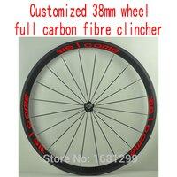 1pcs 700C Customized 38mm Clincher Rims Road Track Fixed Gear Bike Aero 3K UD 12K Full