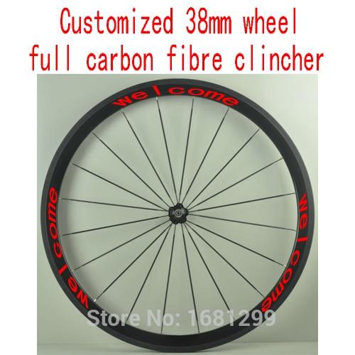 1шт индивидуальные 38мм 700c велосипед полный углеродного волокна велосипед довод обода колеса Бесплатная доставка