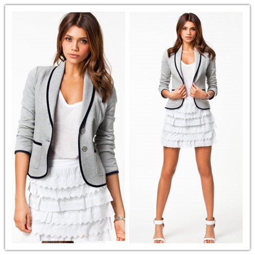New Blazer Women Fashion Women s Spring Slim Short Design Turn down Collar Blazer Grey