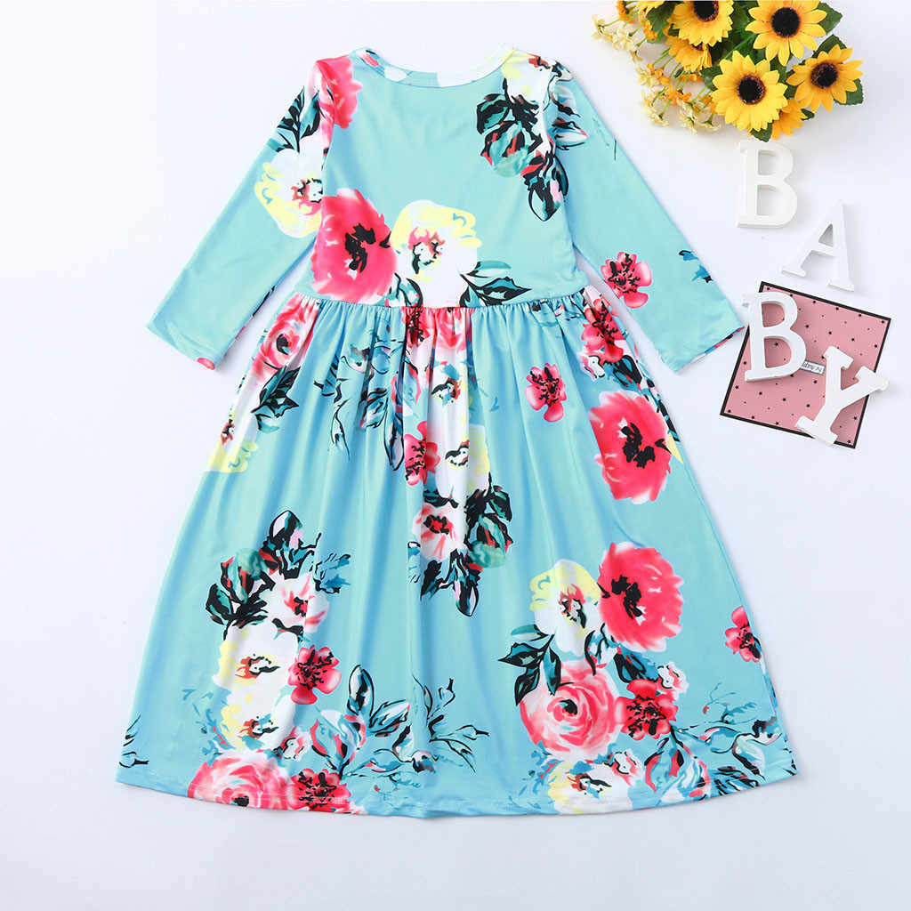 029fcc8041 ... MUQGEW kids dresses Toddler Baby Girl Kids 3 4 Sleeve Floral Pleated  Casual Princess Long ...