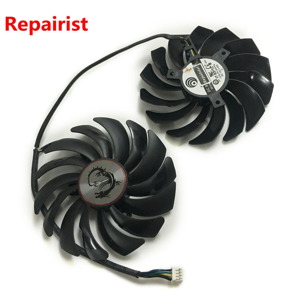 2pcs/lot computer radiator cooler Fans Video Card cooling fan For MSI GTX1080/GTX1070/GTX1060 GAMING GPU Graphics Card Cooling free shipping diameter 75mm computer vga cooler video card fan for his r7 260x hd5870 5850 graphics card cooling