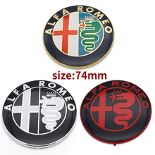 2pcs 7.4cm ALFA ROMEO Car Logo emblem Badge sticker for Mito 147 156 159 166 Free shipping Specials sale Black white Color 74mm