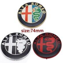 Insignia adhesiva para coche ALFA ROMEO, 2 uds., 7,4 cm, Color blanco y negro, envío gratis, 74mm, para Mito 147, 156, 159, 166