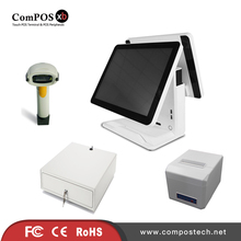 A completely set of 15 inch dual pure screen system built in WIFI POS cash register for retail shop