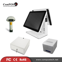 A Completely Set Of 15 Inch Dual Pure Screen System Built In WIFI POS Cash Register