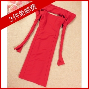 2013 spring women's low cut front and rear cutout racerback sexy slit neckline one-piece dress