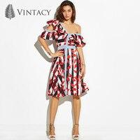 Vintacy Designer Summer Women Long Dress Print A Line Plus Size Beach Vacation Dresses Casual Spring