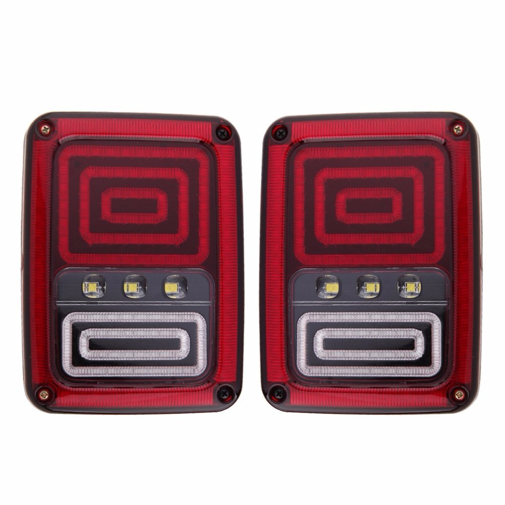 Pair Snake Style For Jeep Wrangler Tail Lights with Brake Turn Reverse Lamp Back Up Rear Light for Jeep JK 2007-2017