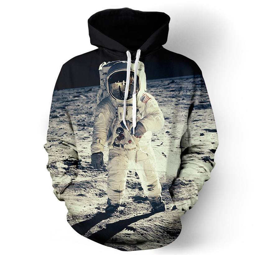 Alisister nuovi uomini di modo/donne graphic giacca harajuku stile divertente 3d print astronauta giacca con cappuccio clothing punk felpa