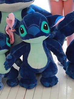 new plush Stitch toy new creative dark blue standing stitch doll gift about 80cm 0337 dark blue doll collar pleated dress