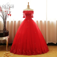QSYYE 2018 Red Ball Gown Long Prom Dresses Elegant Off the Shoulder Boat Neck Half Sleeve Lace Beaded Tulle Evening Dresses