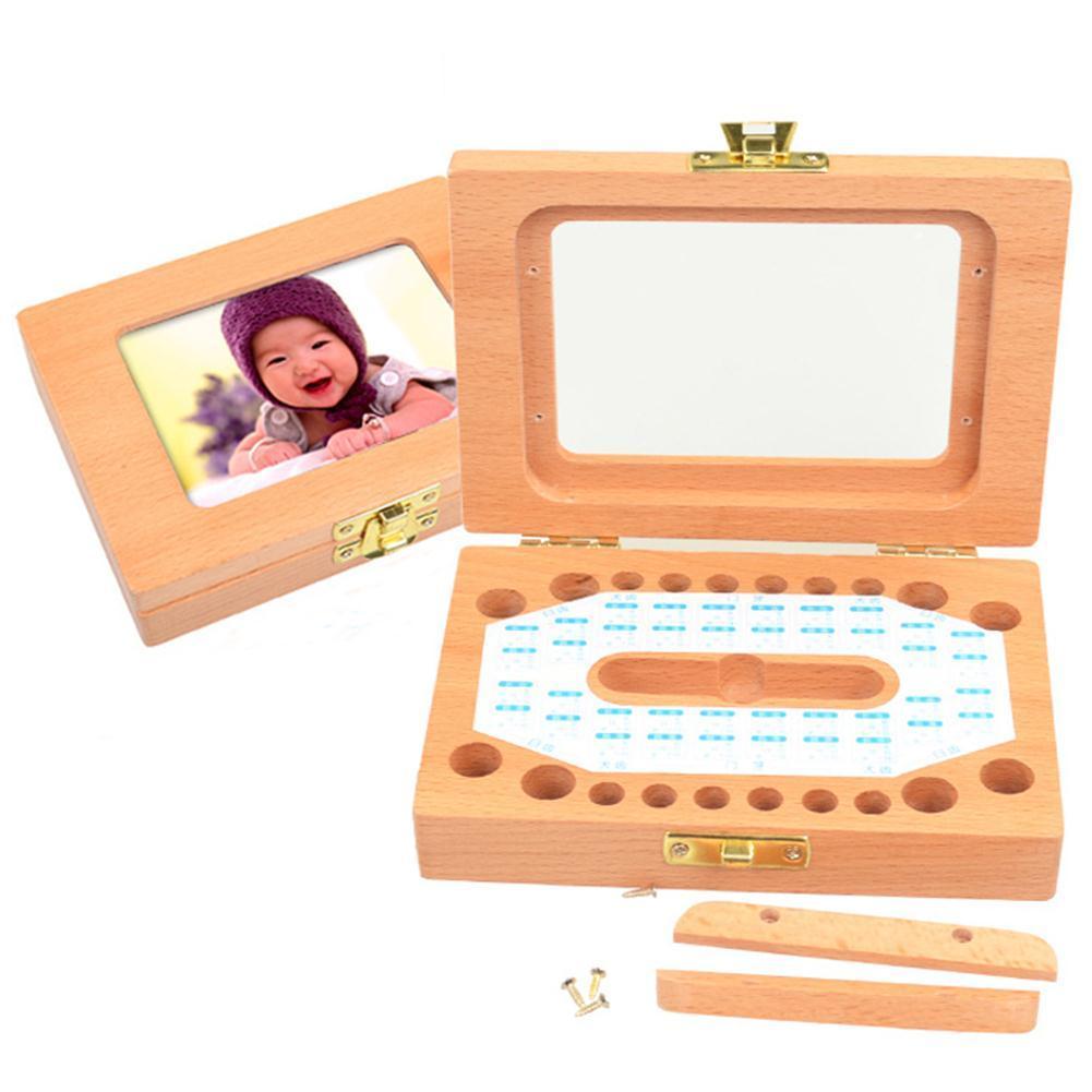 Wooden Children's Photo Frame Deciduous Tooth Storage Box Kids Teeth Storage Box