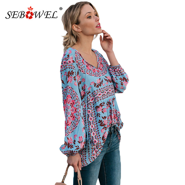 SEBOWEL 2018 Sexy Plus size Three Quarter Sleeve Bohemian Print Chiffon Blouse Women Autumn Casual Female V-neck Tops Blusas XXL