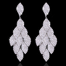 1 Pair Popular Long Pendant Shining Crystal Earrings Leaves Rhinestone Bride Wedding Accessories Dance Party 171106-2