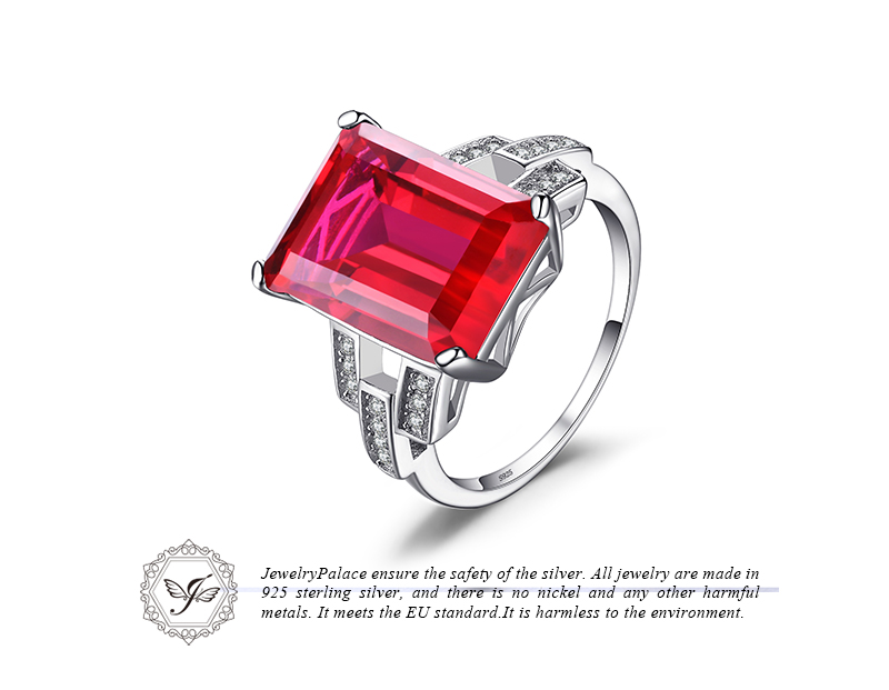 Jewelrypalace Luxury Emerald Cut 9.2ct Created Red Ruby Cocktail Ring 925 Sterling Silver Size R h5xePkH