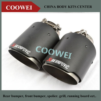 One pair New style Akrapovic 54 mm inlet 101 mm outlet singel Pipe Universal Carbon Fiber Exhaust Tip bmw f30 akrapovic auspuffblende