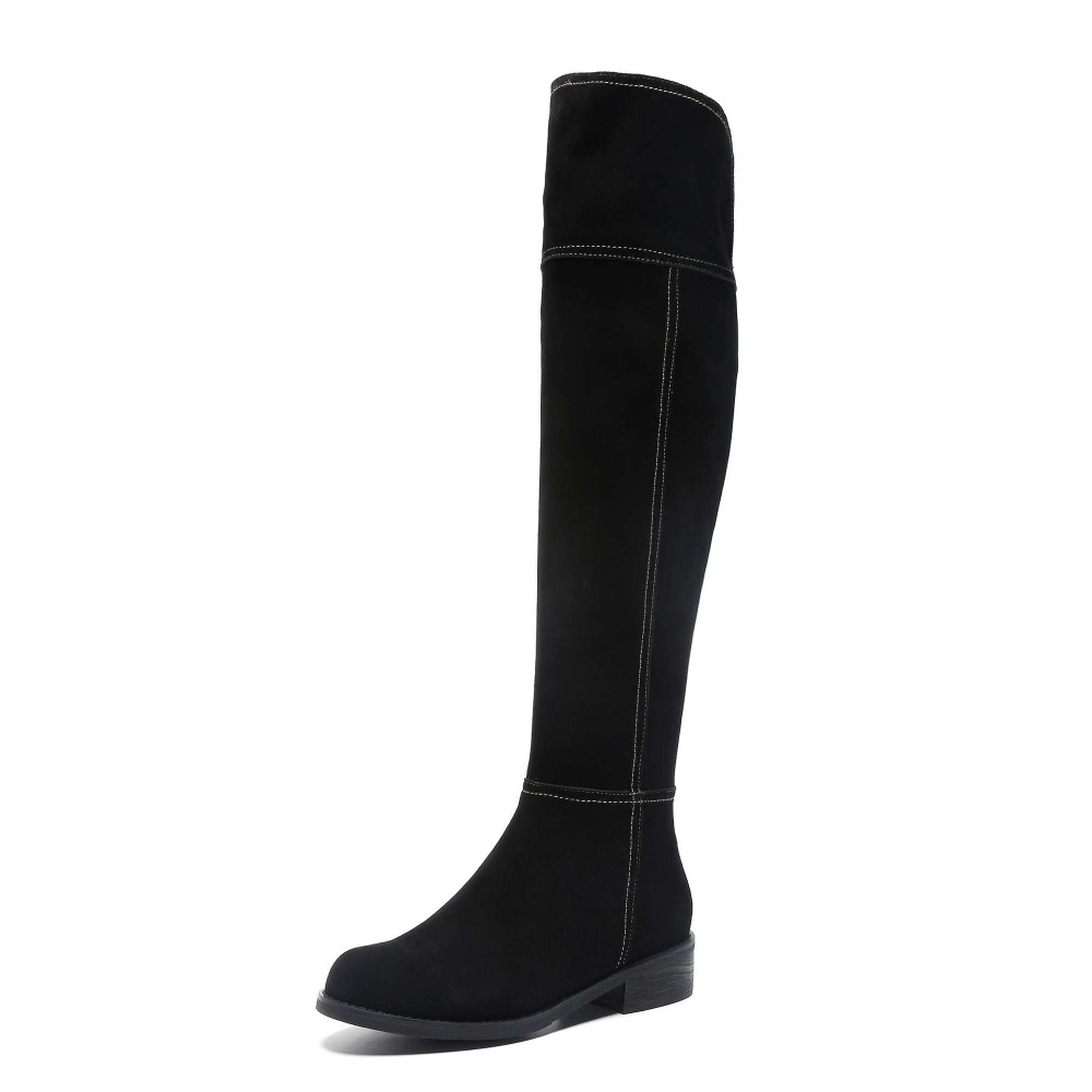 Image 4 - High street fashion solid zip genuine leather thigh high boots round toe low heels rome elegant female over the knee boots L51-in Over-the-Knee Boots from Shoes