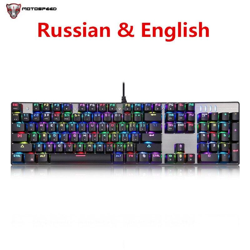 Russian Keyboard Motospeed CK104 Wired Mechanical Keyboard 104 Keys RGB Keyboard Gaming Backlit Anti Ghosting for Gamer Computer