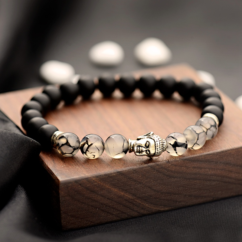 Beads Bracelet Jewelry Natural-Stone Matte Yoga Buddhism Black Men Fashion Bileklik