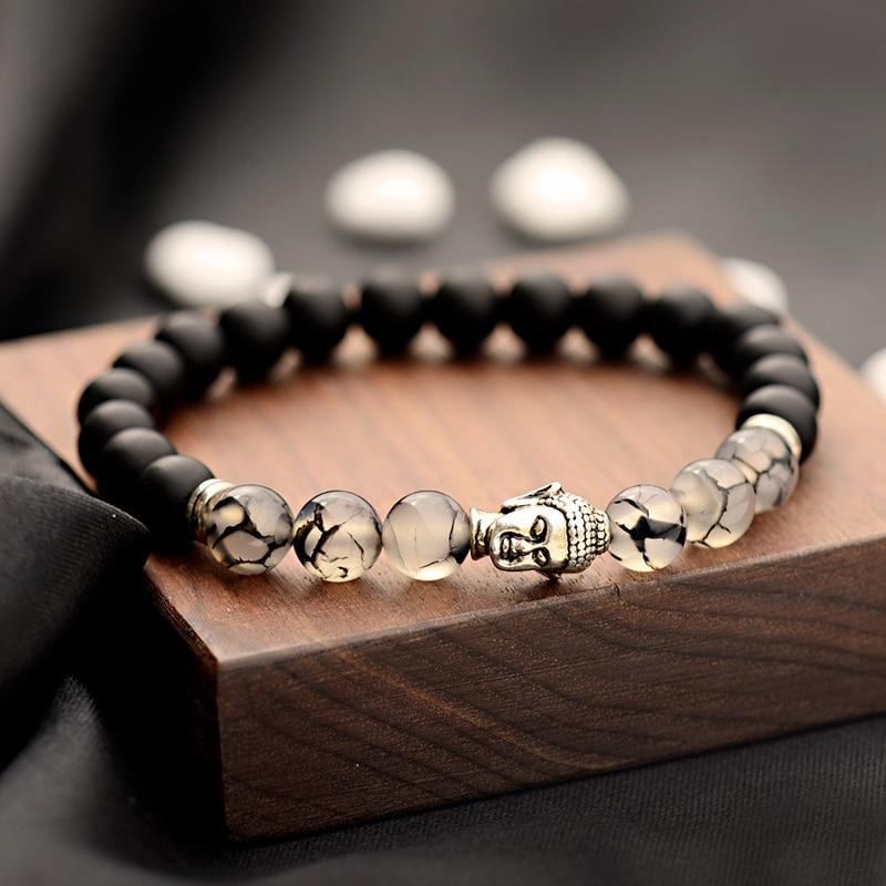 Fashion Buddhism Yoga Balance Bracelet Men Bileklik Black Matte Natural Stone Beads Bracelet For Women Braclet Jewelry AB216