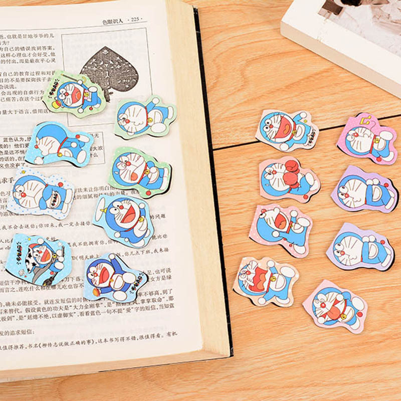 Creative Cute Kawaii Magnetic Bookmark Lovely Doraemon Paper Book Markers Korean Stationery Student 2439