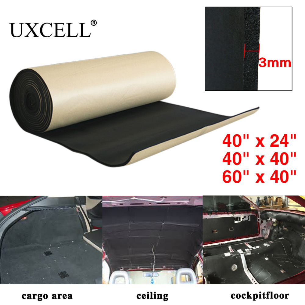 UXCELL 3mm/5mm/8mm/10mm Thick Car Soundproof Cotton Insulation Foam Sound Absorption Hood Roof Fender Deadener Mat