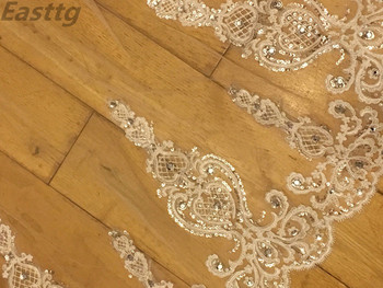 Real picture White Ivory 3.5m cathedral Long Wedding Veil Sparkling Crystal Bridal Lace Accessories Metal Comb