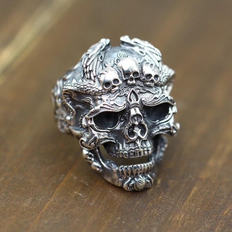 925 argent pur personnalité sculpture anneaux pour hommes reconstituant des manières anciennes faisant de vieux styles de crâne d'argent thaïlandais.