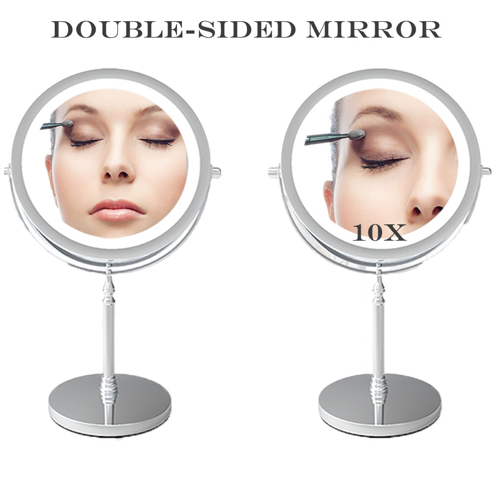 HD Mirror with Light 10X Magnifying Double-Sided Lighted Makeup Mirror Daylight LED Vanity Mirror Bedroom Cosmetic Mirror nyx professional makeup двустороннее зеркало dual sided compact mirror 03
