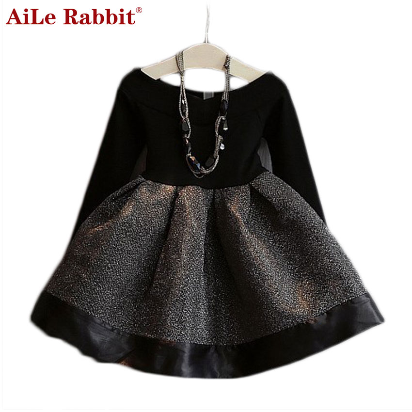 AiLe Rabbit 2017 Spring and Autumn New Korean Fashion Girls Sweet O-neck Long-sleeved Waist Stitching Lovely Princess Dress