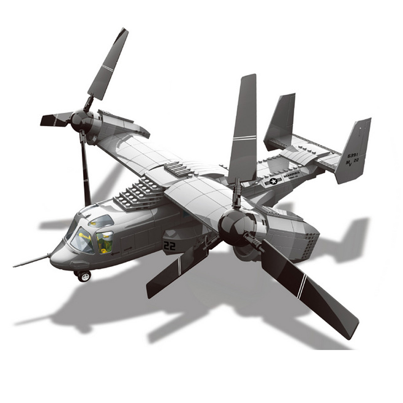 1/44 Air Force 1 American V-22 Osprey Tiltrotor Aircraft Medium Transport Aircraft Small Particles Assembled Toy Building Blocks