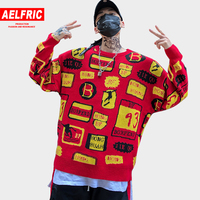 AELFRIC Winter Christmas Sweaters 2018 Letter Graffiti Printing Knitted Men Sweater Hip Hop Harajuku Fashion Red Pullovers BF05