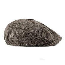 2019 New Newsboy Cap Beret Hat Men Women  Hat Tweed Gatsby Octagonal Black White Herringbone Vintage Ivy Hats