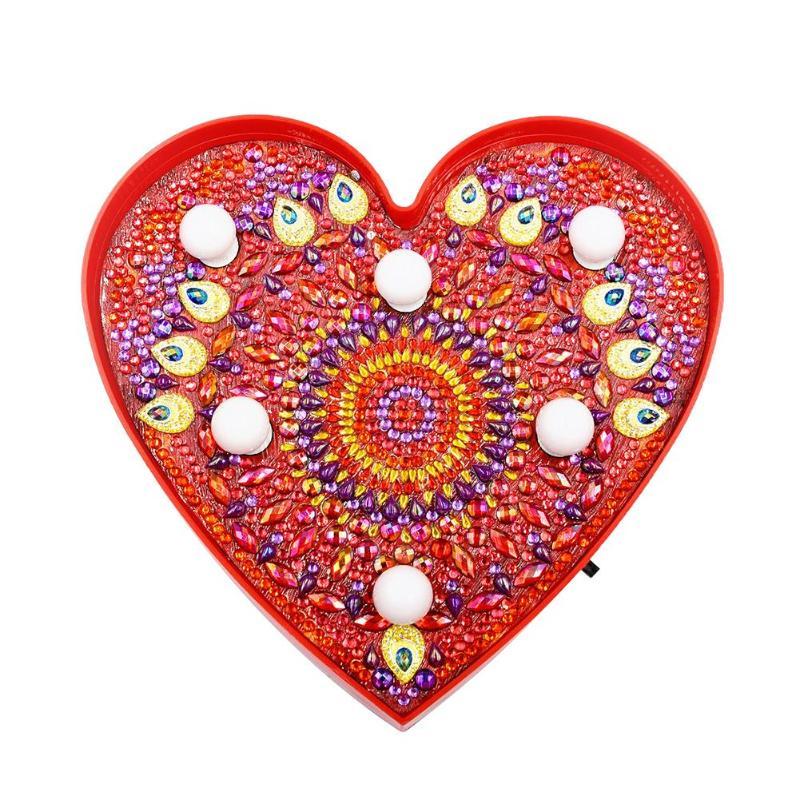 DIY Heart Shaped Diamond Painting Lamp Full Drill Mandala LED Modeling Night Light Home Decoration Ornament Lamp