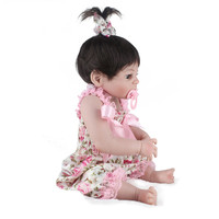 Reborn babies 55cm full body silicone doll reborn 22inch girl Lifelike toy for kids pink flower spring dress handmade hair wig