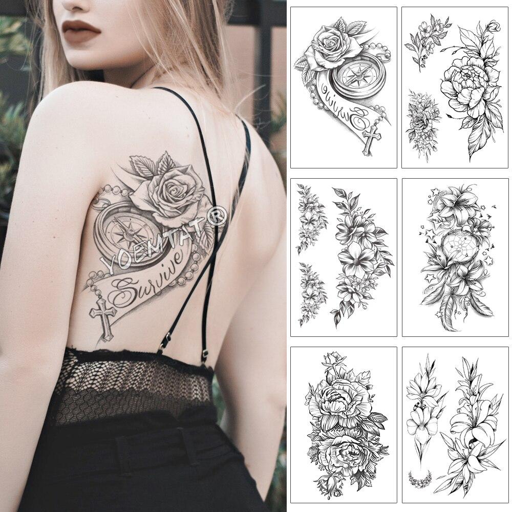 Rose Compass Pearl Cross Waterproof Temporary Tattoo Sticker Black Lace Arm Back Flowers Big Tatto Body Art Fake Tatoo For Women