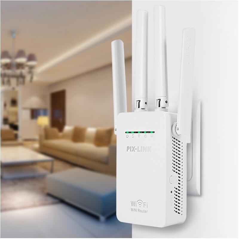 PIXLINK WR09 Original Wireless Wifi Repeater 300mbps Universal Range Wireless Router With 4 Antennas AP Router Repeater Mode