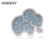 Hinnixy Elephant LED Night Light Kids Girl Bedroom Decor Bedside Lamp Yellow Green Pink Woodiness Cute Table Lights Baby Gifts