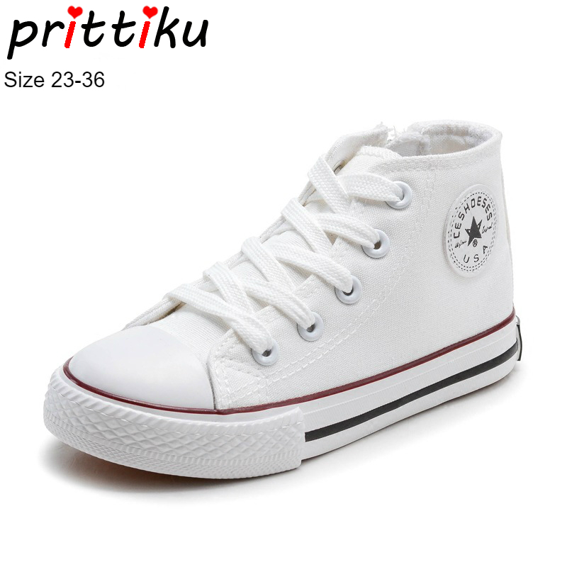 Autumn 2018 Boys Girls High Top Lace-Up Canvas Sneakers Toddler/Little/Big Kid White Red Black Skate Trainers Child Sports Shoes winter 2018 girls boys plaid high top plush warm lined sneakers baby toddler little kid casual trainers children lace up shoes