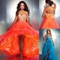 5074 оранжевый синий кристалл формальные ну вечеринку вечернее платье перед краткое вернуться привет-полимерной - привет-ло хай-лоу платья выпускного вечера 2016 макси Большой размер 2 - 26 Вт