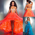 5074 laranja azul cristal Formal do partido vestido curto frente verso longo Hi - Lo alta baixo Prom vestidos 2016 Maxi Plus Size 2 - 26 W