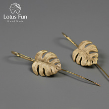 Lotus Fun Real 925 Sterling Sølv Håndlavede Fine Smykker Creative Monstera Leaves Design Dangle Øreringe til Women Bijoux