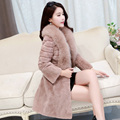 2016 new fox fur collar whole skin Real Rex Rabbit fur coat women long