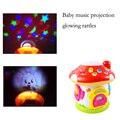 New baby toys early educacional das crianças projeção brilhante tiro da música tambor de mão tambor rotativo musical chocalhos de brinquedo do bebê
